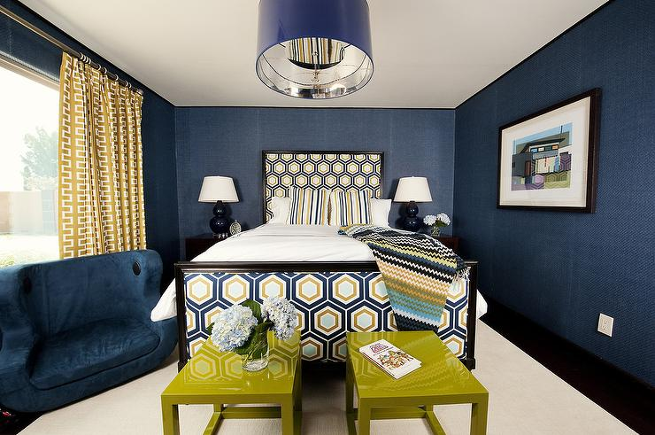 Blue And Gold Bedrooms Contemporary Bedroom