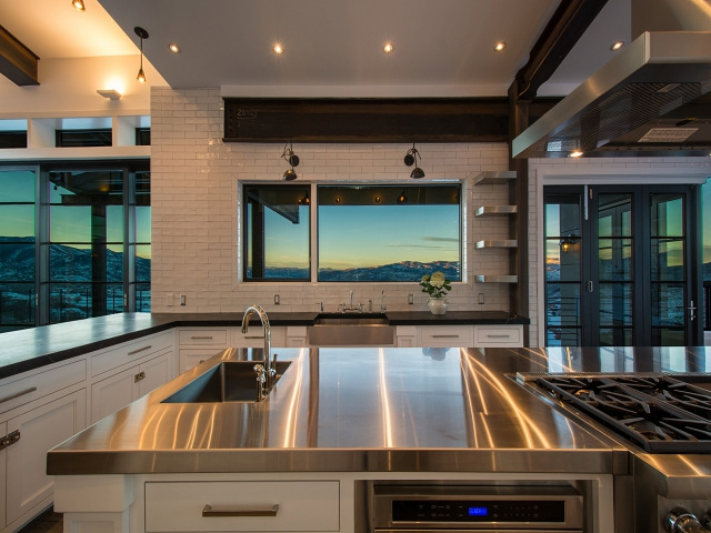 Oversized Stainless Steel Center Island With Stacked