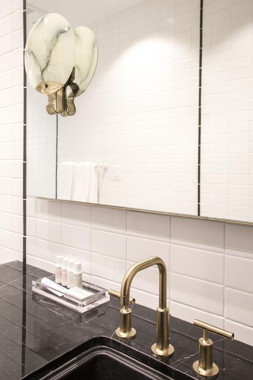 Agate Wall Sconce Transitional Bathroom - Gold and silver bathroom faucets