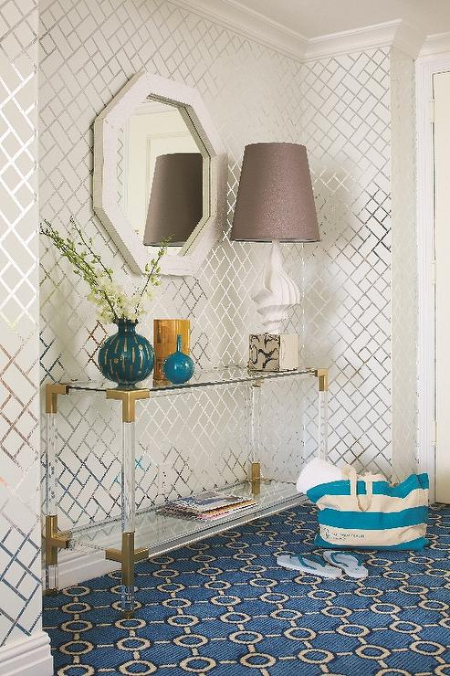 white and turquoise blue foyer color scheme cottage