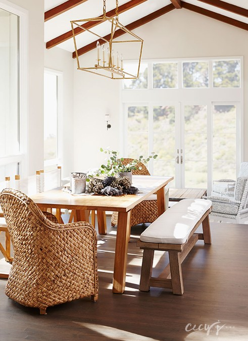 Dining Room with Seagrass Chairs - Transitional - Dining Room