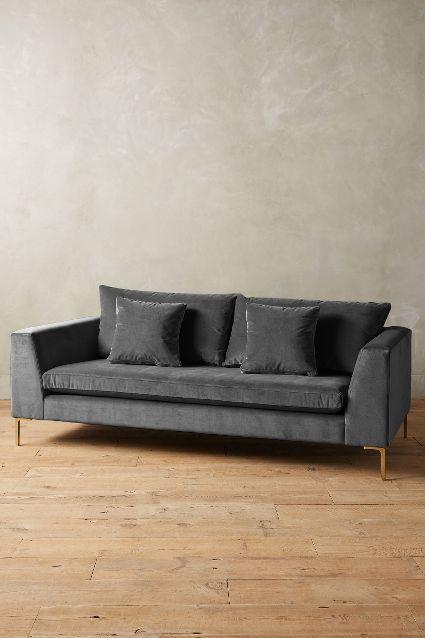 Brilliant Velvet Edlyn Charcoal Sofa Bralicious Painted Fabric Chair Ideas Braliciousco