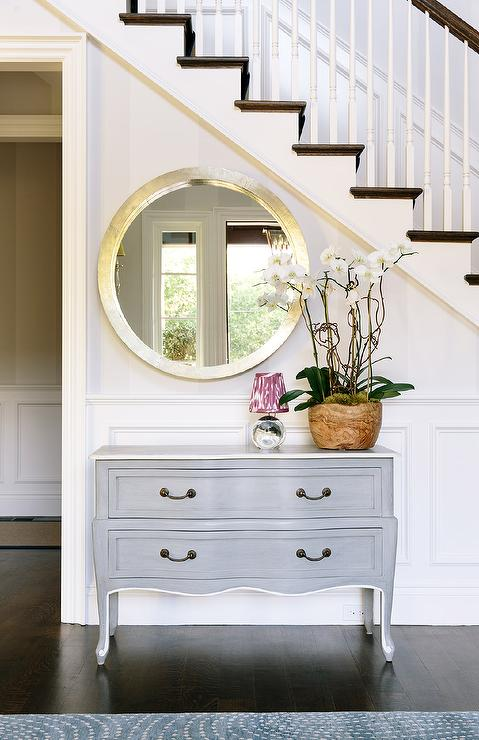 Foyer Mirror : Round silver foyer mirror design ideas