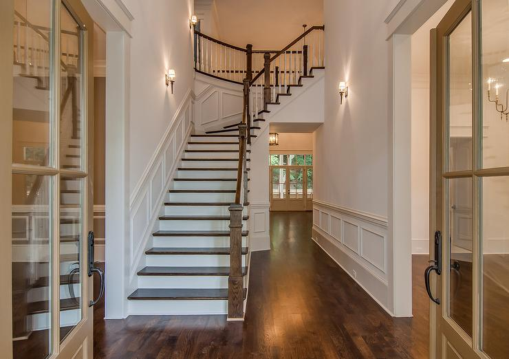 Front Foyer Staircase : Foyer hall with wainscoting transitional entrance