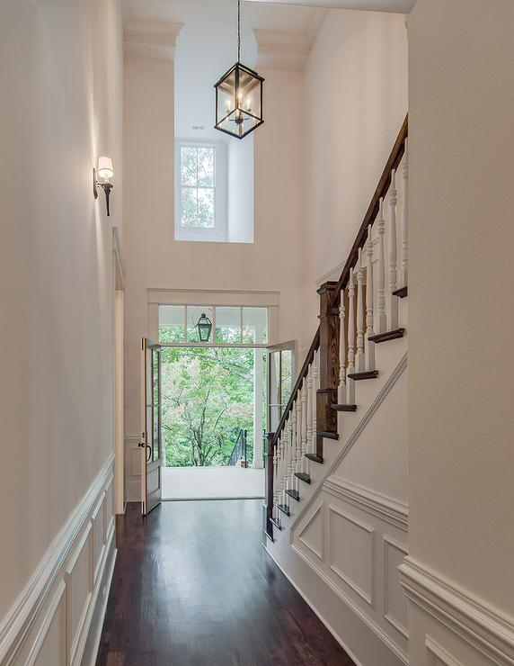 Foyer hall with wainscoting transitional entrance foyer for 2 story foyer chandelier