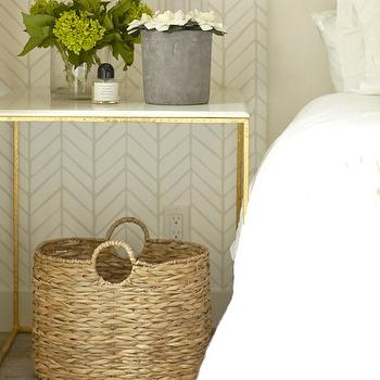Brass and Marble Nightstand, Transitional, Bedroom