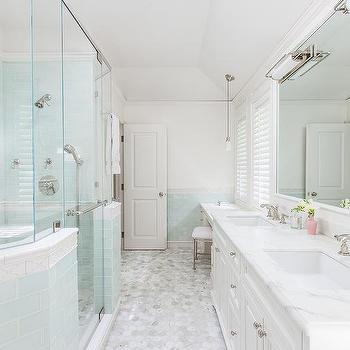 Shower with Blue Glass Subway Tiles, Transitional, Bathroom