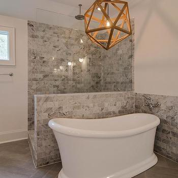 Walk In Shower With Dark Gray Slate Tiles With