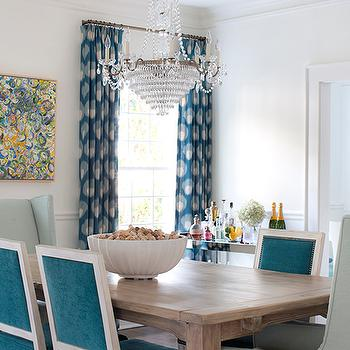 French Turquoise Velvet Dining Chairs, Contemporary, Dining Room
