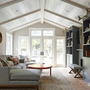 Living Room with Gray Bookcases, Transitional, Living Room