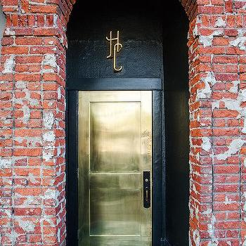 Gold Front Door, Eclectic, Home Exterior