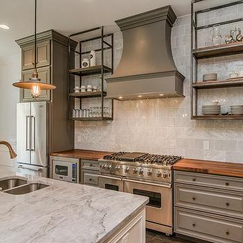 Gray Kitchen Cabinets with Butcher Block Top, Vintage, Kitchen