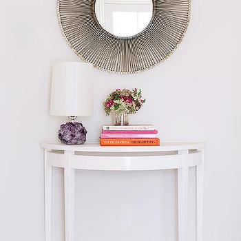 White Half Moon Foyer Table, Contemporary, Entrance/foyer
