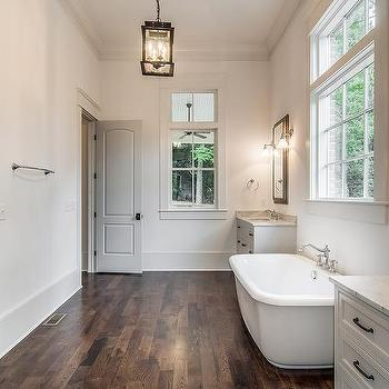 Tub Flanked by Washstands, Transitional, Bathroom