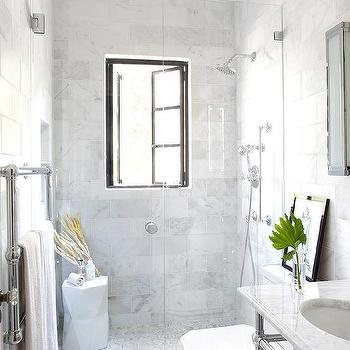 Shower with French Windows, Transitional, Bathroom