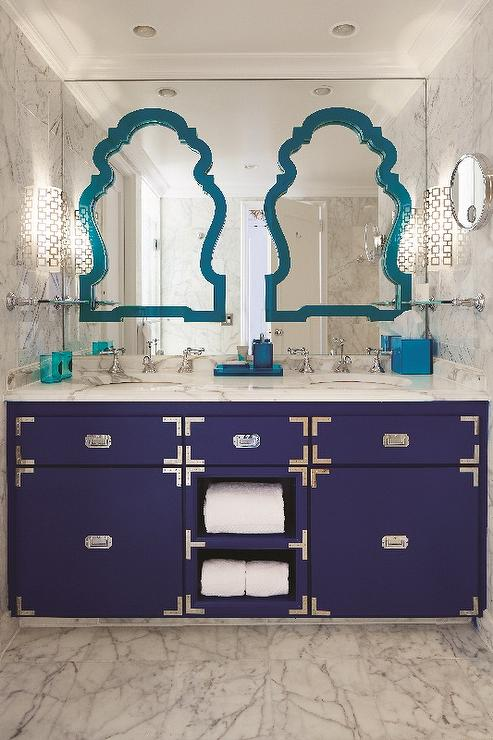 Navy Campaign Washstand Contemporary Bathroom - Bathroom vanities palm beach