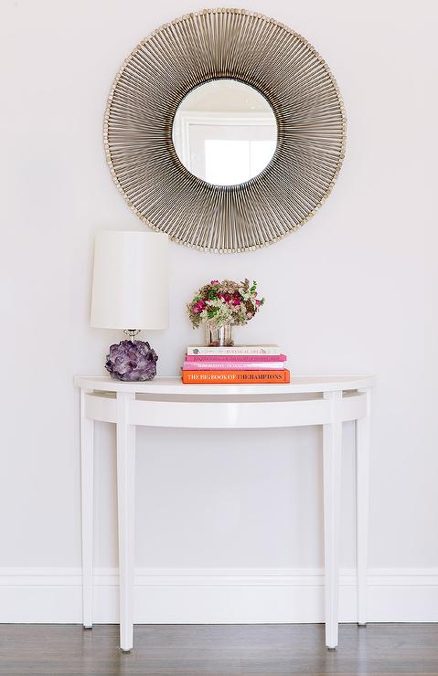 Awesome Chic Foyer Features A Silver Sunburst Mirror Over A White Half Moon Console  Table, Oomph Online Palm Beach Demi Lune, Topped With Pink And Orange  Coffee ...