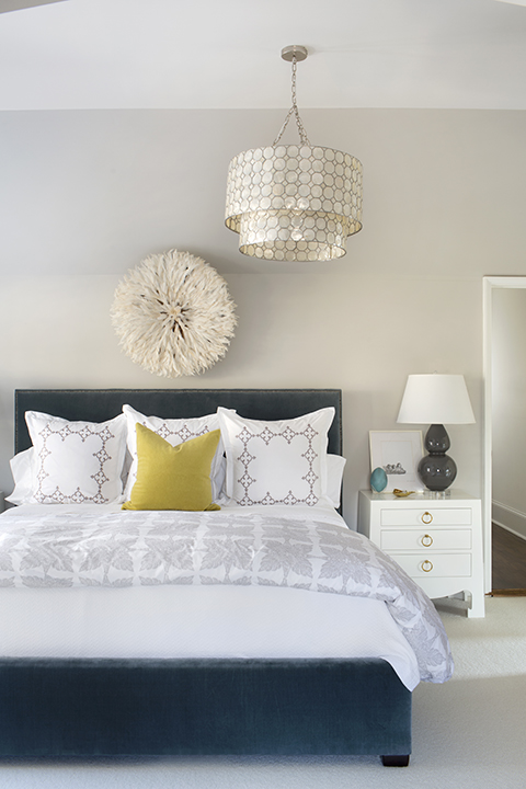 Tiered Capiz Chandelier Contemporary Bedroom