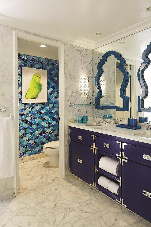 Navy Blue Campaign Bathroom Vanity Contemporary Bathroom