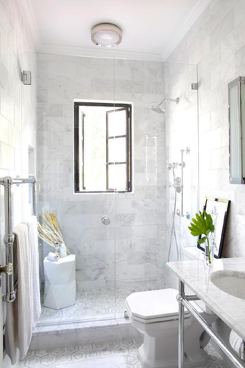 Shower with french windows transitional bathroom for Small marble bathroom ideas