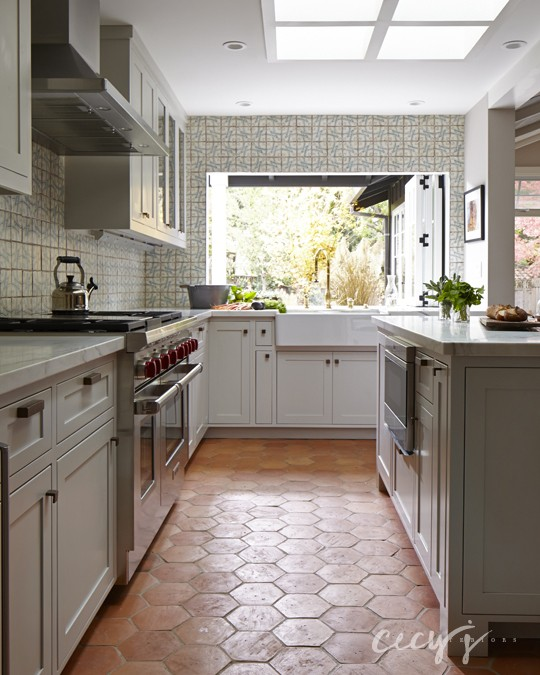 Kitchen with Terracotta Hex Tile Floor - Cottage - Kitchen