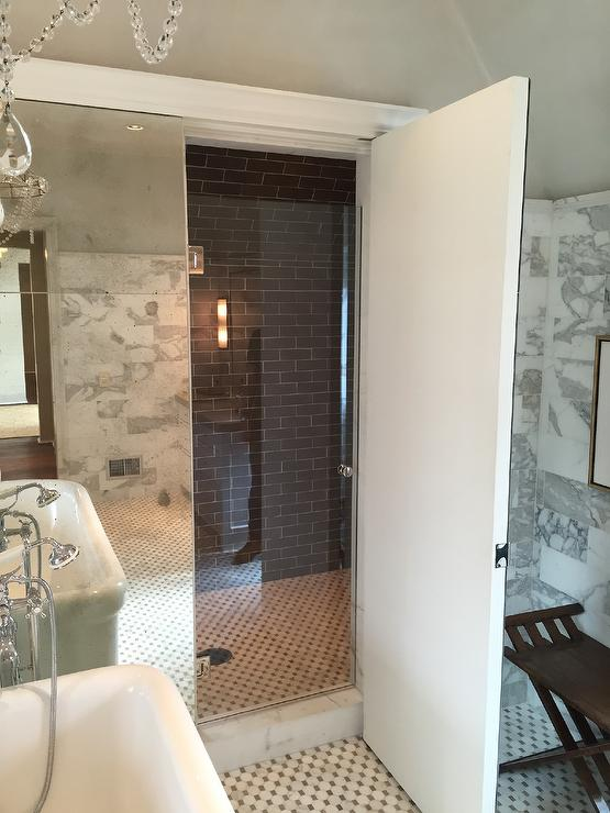 hidden shower transitional bathroom