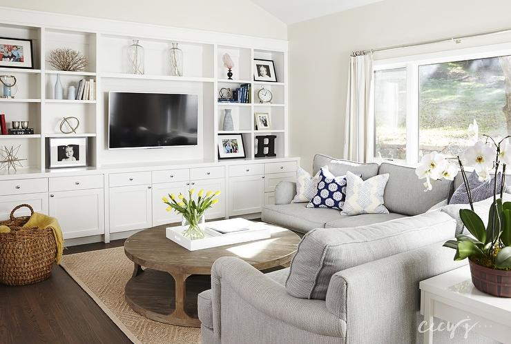 Dove gray sectional transitional living room