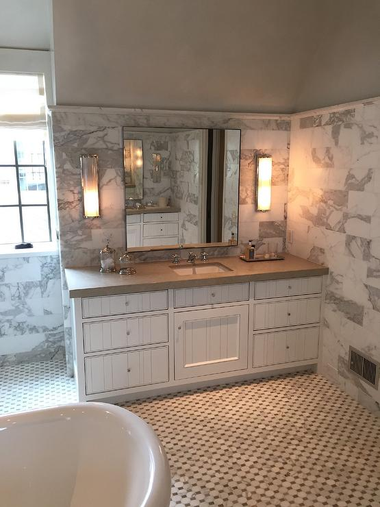 Bathroom With Statuary Marble Tiles Transitional Bathroom
