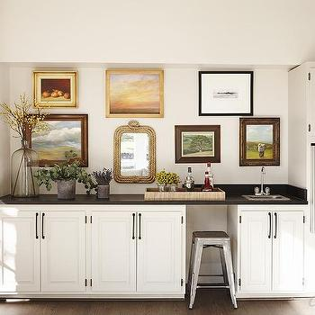 Basement Wet Bar and Refrigerator, Transitional, Basement