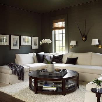 White Sectional and Gray Walls, Transitional, Living Room, Sherwin Williams Porpoise