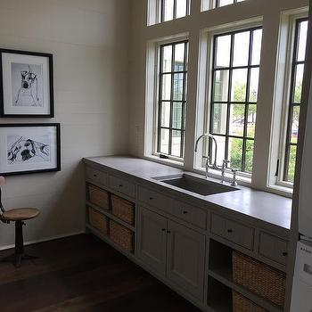 Laundry Sink Under Window, Transitional, Laundry Room