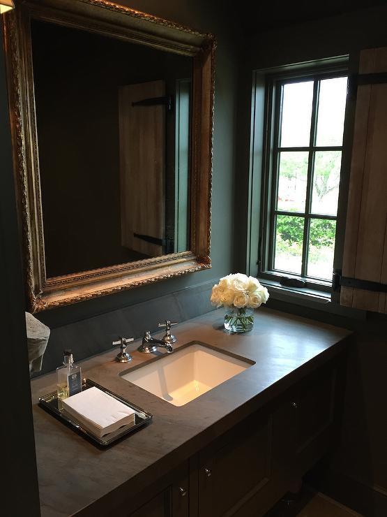 Orante Gold Vanity Mirror Transitional Bathroom
