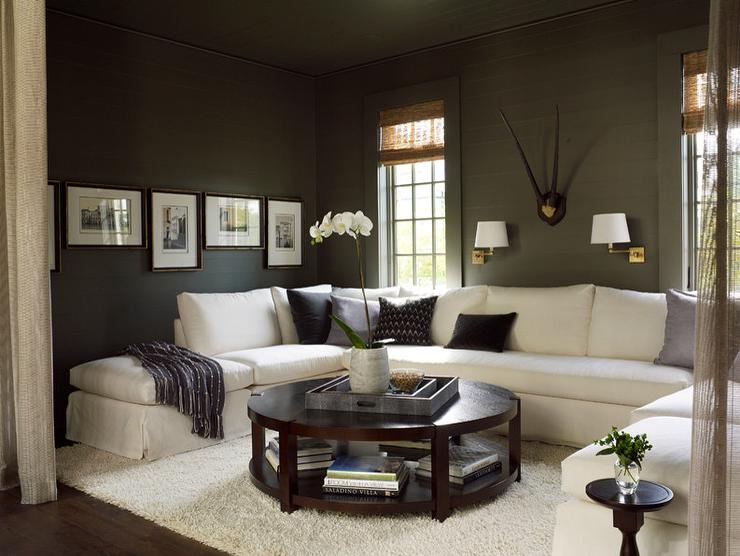 White Sectional And Gray Walls Transitional Living