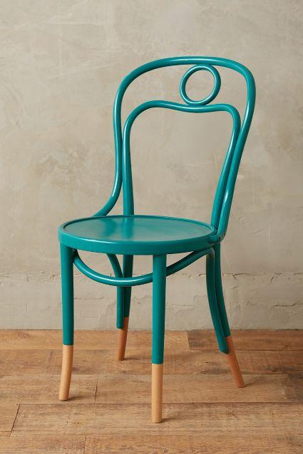 Scrolled Bentwood Turquoise Dining Chair