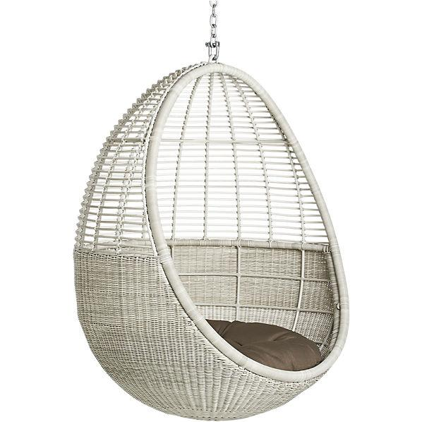 Delightful White Pod Hanging Chair With Cushion