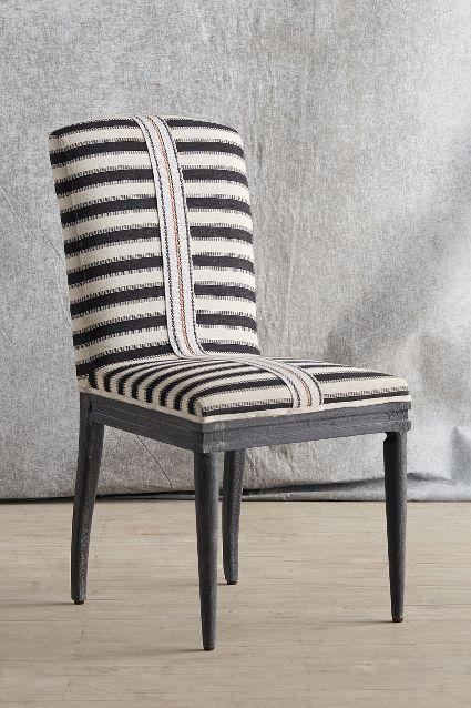 Grassland Stripe Black And White Dining Chair