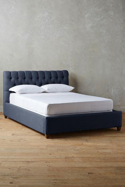 Linen Tufted Lena Navy Bed