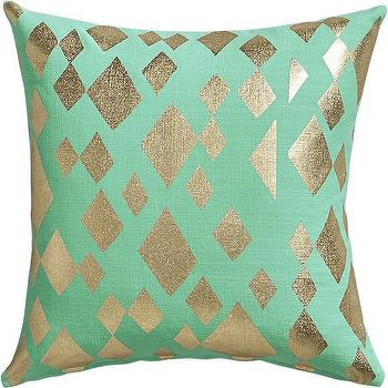 Geometric Foil Aqua Pillow