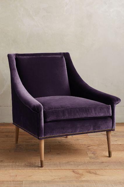 Captivating Velvet Tillie Purple Armchair