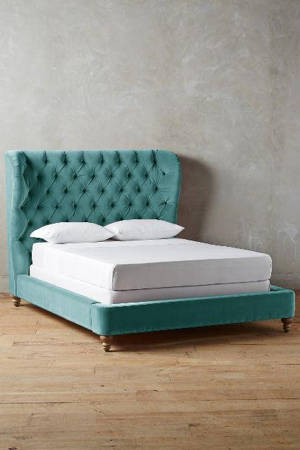 Velvet Tufted Teal Wingback Bed