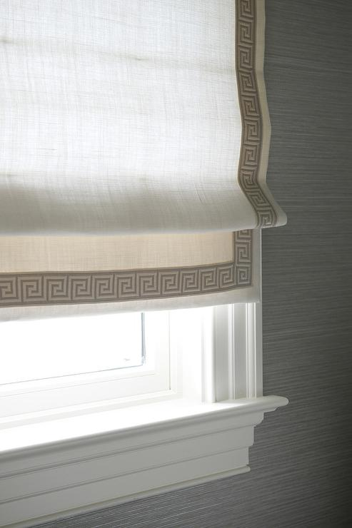 Greek Key Roman Shades Contemporary Bathroom