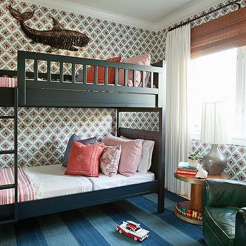 Black Bunk Beds with Ladder, Cottage, Boy's Room