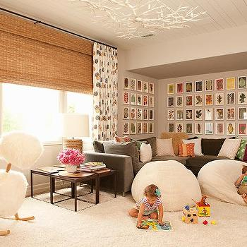 Superbe Family Room With Brown Velvet Sectional