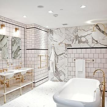 White Bathroom With Gold Vanity Mirrors Transitional
