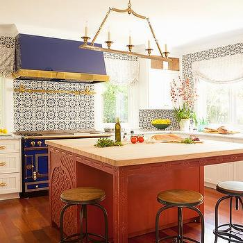 Blue Stove and Hood, Eclectic, Kitchen