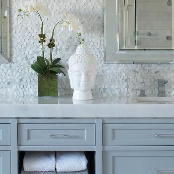 Bathroom with Marble Hex Backsplash, Transitional, Bathroom