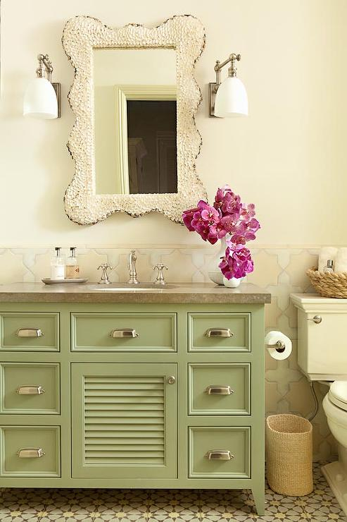 White And Green Cottage Bathroom Design Ideas