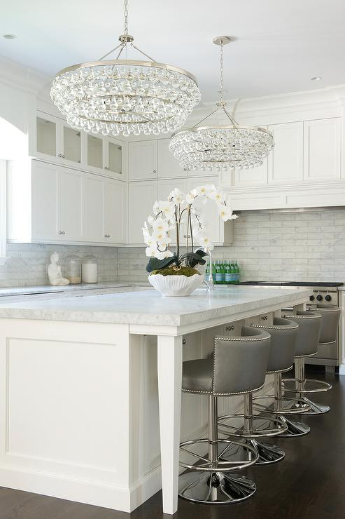 Kitchen Island with Robert Abbey Bling Chandeliers  : carrera marble subway tiles robert abbey bling chandelier swivel stools from www.decorpad.com size 493 x 740 jpeg 48kB