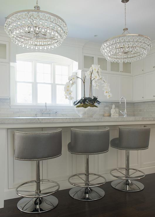 Gray Swivel Barrel Back Counter Stools Transitional