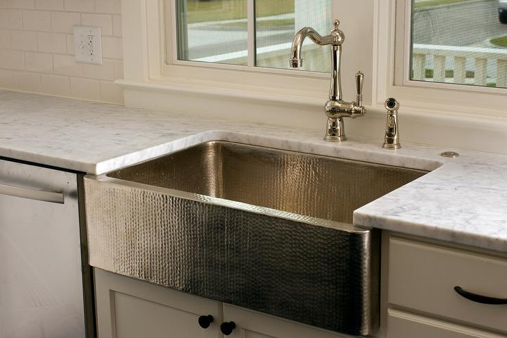 Hammered Kitchen Sink Transitional Kitchen
